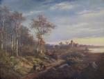 Autor neurčen - Romantická krajina s vesničkou