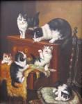 Autor neurčen - Kočičí hra - olej na dřevěné desce