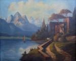 Romantická krajina - Dům u jezera